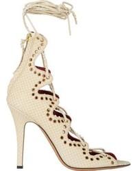 Isabel Marant Lelie Ankle Wrap Sandals White