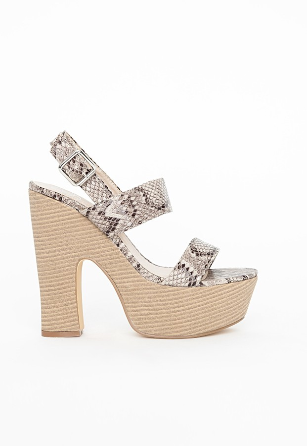 Missguided Snake Print Platform Heeled Sandals | Where to buy