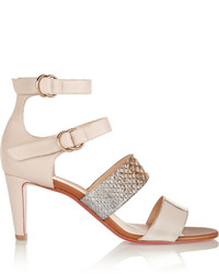 Christian Louboutin Multita 70 Leather And Python Sandals Beige