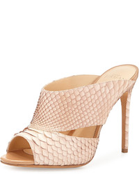 Alexandre Birman Python Slide Sandal Neutral