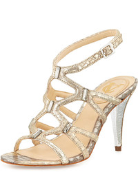 Vince Camuto Signature Vogue Metallic Leather Snake Print Sandal Pump Platinum