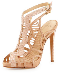 Alexandre Birman Wave Caged Python Leather Sandal Neutral