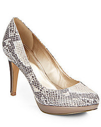 Pearly snake embossed faux leather platform pumps medium 450669