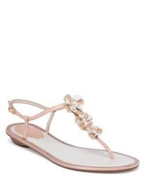Rene Caovilla Embellished Leather Snakeskin T Strap Sandals