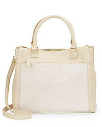 Faux leather snake embossed panel tote medium 228049