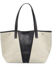 Modern v medium linenpython embossed tote bag natural medium 525609