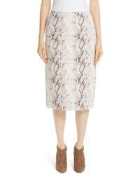 Lafayette 148 New York Casey Diamondback Print Suede Skirt