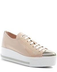 Miu Miu Platform Pointy Cap Toe Sneaker