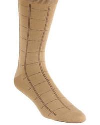 Black Brown 1826 Mercerized Windowpane Plaid Dress Socks