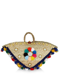 Muzungu sisters multi coloured straw sicilian pom pom basket medium 3644933