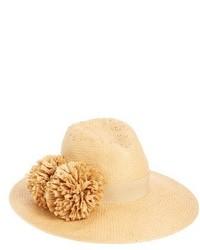 August Hat Pom Straw Fedora Beige