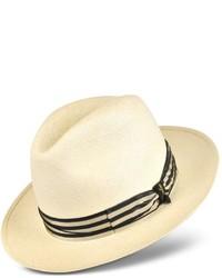 Borsalino Beige And Blue Stripe Band Real Panama Hat