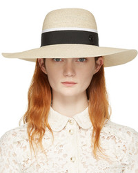 Beige straw blanche beach hat medium 1196090