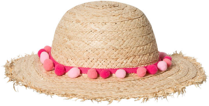Lili Gaufrette Beige Straw Hat With Pom Pom Detail