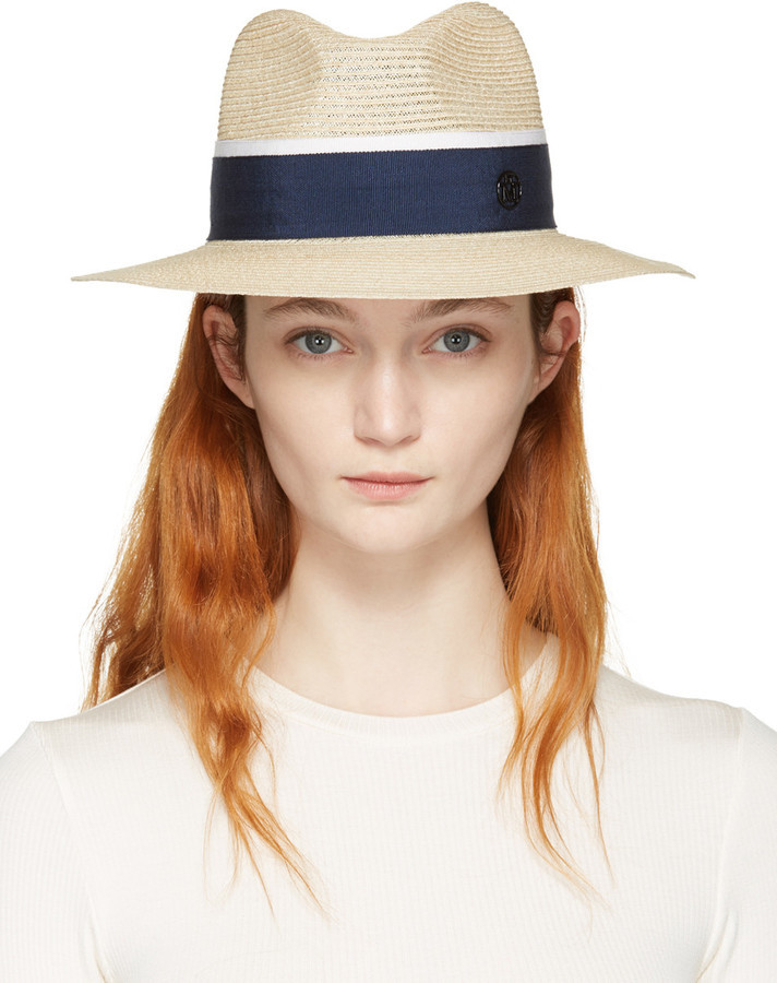 28a46c56 Maison Michel Beige Straw Henrietta Panama Hat, $680 | SSENSE ...