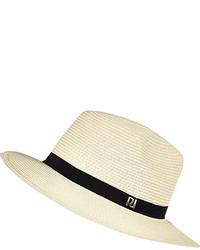 River Island Cream Straw Fedora Hat