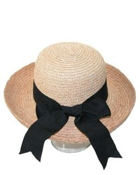CTM Straw Sun Hat With Black Sash