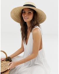ASOS DESIGN Curve Crown Flat Brim Straw Hat