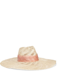 Eugenia Kim Cassidy Feather Trimmed Woven Straw Hat Beige