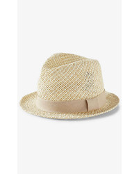 Express Two Tone Open Weave Fedora Hat
