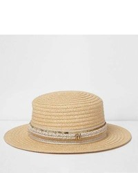River Island Girls Beige Straw Metallic Trim Boater Hat