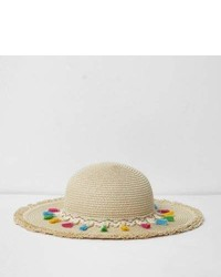 River Island Girls Beige Tassel Trim Beach Hat