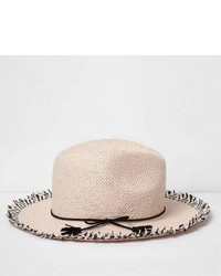 River Island Girls Pink Frayed Edge Fedora Hat