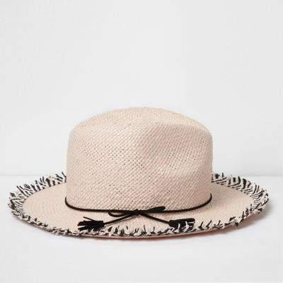 River Island Girls Pink Frayed Edge Fedora Hat