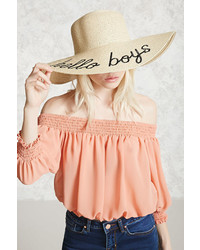 Forever 21 Hello Boys Graphic Straw Hat