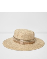 River Island Light Beige Embroidered Straw Hat