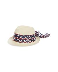 Valentino Logo Scarf Straw Hat