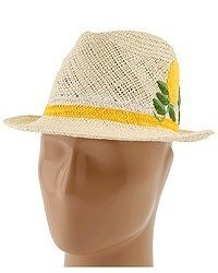Kate Spade New York Lemon Embroidery Straw Fedora Traditional Hat