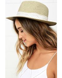Panama City Beige Straw Fedora Hat