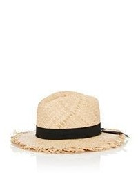 Barneys New York Raw Edge Straw Hat Black