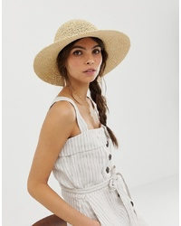 ASOS DESIGN Straw Crochet Short Brim Floppy Hat With Size Adjuster
