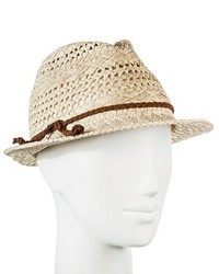 Merona Straw Hat Fedora Natural Tan Pattern Weave With Brown Braid