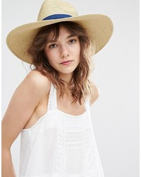 Mango Straw Hat With Blue Ribbon