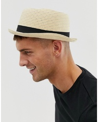 ASOS DESIGN Straw Pork Pie Hat In Beige