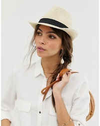 ASOS DESIGN Straw Trilby Hat With Size Adjuster