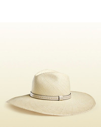 Gucci Straw Wide Brimmed Hat With Leather Band