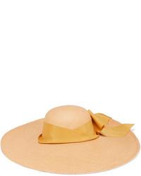 Sensi Studio Lady Ibiza Bow Embellished Toquilla Straw Hat Beige