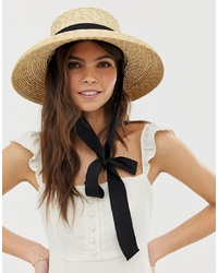 ASOS DESIGN Turned Edge Straw Hat With Changeable Ties