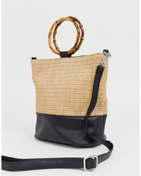 New Look Bamboo Handle Bucket Bag In Stone