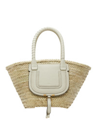 Chloé Beige Raffia Medium Marcie Tote Bag