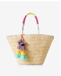 Express Color Block Straw Tote
