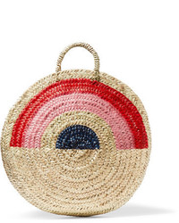 Vanessa Seward Dakar Painted Straw Tote Neutral