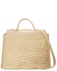 Nancy Gonzalez Large Straw Crocodile Carryall Tote Bag