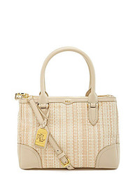 Lauren Ralph Lauren Newbury Double Zip Woven Straw Shopper Tote