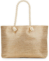 Saks fifth avenue metallic straw tote medium 227004