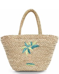 Mud Pie Straw Palm Tree Tote